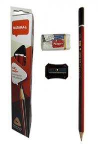 Карандаш чернографитный Nataraj 621 Ruby HB заостренный 12 шт с резинкой и точилк 201013008