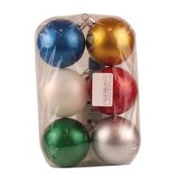 Новогодний пластиковый шар d60мм краска ассорти (Цена за  6 шт)
