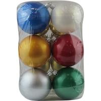 Набор елочных игрушек пластик шар d80мм краска ассорти (Цена за упак 6шт)