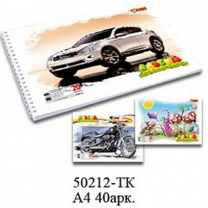 Альбом для рисования А4 40л на спирали 120 г/м2 TIKI 50212-TK