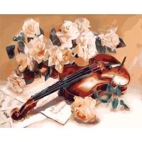 Набор для росписи по номерам 40*50см Натюрморт. Мелодия скрипки КНО5500