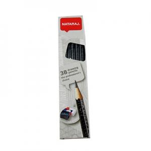 Карандаш чернографитный Nataraj Drawing 3В заостренный с ластиком и точилкой 201210001