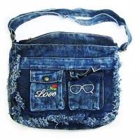 Сумка джинсовая с очками и розой 8-1 (1104)