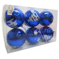 Набор елочных игрушек пластик 80мм в упак 6шт 7-131 (58-5)   (1/64)