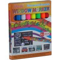 Набор маркеров 8цв для досок мел для пластика  стекла  фарфора  досок и плакатов SL-380A