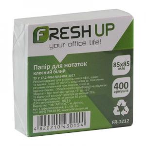 Блок бумаги для записей 85*85мм 400л клееный белый Fresh Up FR-1212