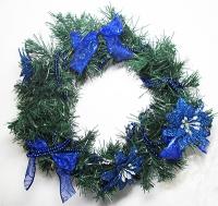 Рождественский венок новогодний  с синим