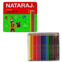 Карандаши цветные 24цв Nataraj Vivid Premium в метал коробке  201256014