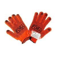 Перчатки FORA с ПВХ рисунком оранжевые DOLONI 15300 Цена за пару