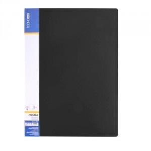 Папка А4 пластиковая с прижимом CLIP В черная  Е31202-01