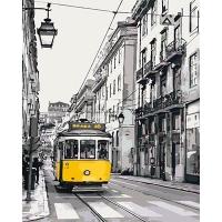 Набор для росписи по номерам 40*50см Городской пейзаж. Желтый трамвайчик КНО2187