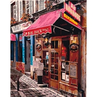 Набор для росписи по номерам 40*50см Городской пейзаж. Любимый магазинчик КНО2195