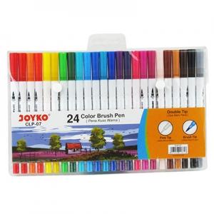 Фломастеры 24 цвета, двухсторонние кисточка/линер Joyko CLP-07