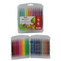 Фломастеры 24 цветов двухсторонние кисточка/фломастер Joyko CLP-31