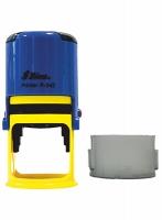 Оснастка автомат для круглой печати d 42мм желто-синяя R-542