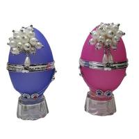 """Шкатулка """"Яйцо с жемчугом"""" стекло 8-212"""