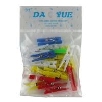 Прищепка 3 см пластик цветная 20шт в пакете 10-47 (23516)
