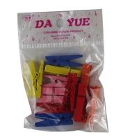 Прищепка 3,5 см пластик цветная 12 шт в пакете 10-50 (23516)