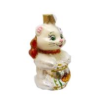 """Новогодняя игрушка формовая стекло 9см """"Кот с аквариумом"""" 1104M"""