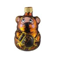 """Новогодняя игрушка формовая стекло 7,5см """"Медвежонок с медом"""" 1115M"""