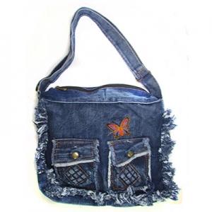 Сумка джинсовая Бабочка с карманами 8-2 (1105)