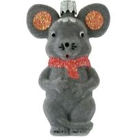 Новогодняя игрушка Крыса 10см бархат маленькая пластик