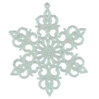 Новогодняя подвеска Снежинка №7 13см белая цена за упак 10шт