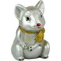Новогодняя игрушка Крыса с бантиком 9см краска пластик