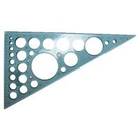 Треугольник прозрачный 20см 60*90*30 трафарет окружностей