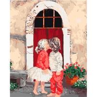 Набор для росписи по номерам 40*50см Дети. Первый поцелуй 2 КНО2325
