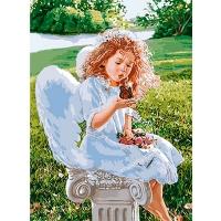 Набор для росписи по номерам 35*50см Дети. Дыхание ангела КНО2330