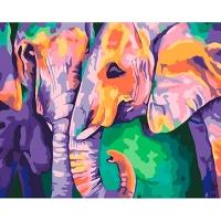 Набор для росписи по номерам 40*50см Животные, птицы. Индийские краски КНО2456