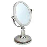 Зеркало двостороннее белая оконтовка овал на подставке 50628