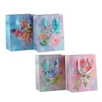 Пакет подарочный Цветы глитер 32*26*12см арт 1962М 10-111-1 (10345)