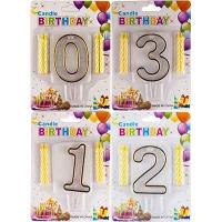 Свеча для торта цифра прозрачная с блестками 6-472 9-216 (6605)