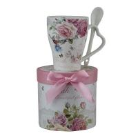 Чашка керам с ложкой Цветы 5-598