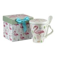 Чашка керамическая с крышкой+ложка Фламинго 5-600