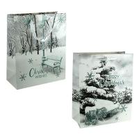 Пакет подарочный новогодний Зима 32*26*12см 1957М 5-313 (10345)