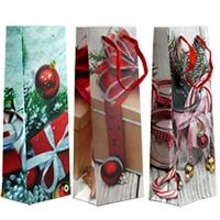 Пакет подарочный новогодний MIX под бутытку 36*12,7*8,3см 1946В 5-317  (10345)