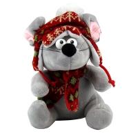 Игрушка мягкая Мышка в вязанной шапке с шарфом 5-200 (1331)