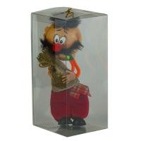 Новогодняя игрушка стекло Украинец с мешком денег 20см ручная роспись