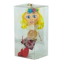 Новогодняя игрушка стекло Украинка с кораваем 20см ручная роспись