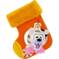 Новогодняя игрушка стекло Мышь в валенке 6см ручная роспись ассорти