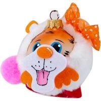 Новогодняя игрушка стекло Мышь оранжевая