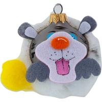 Новогодняя игрушка стекло Мышь с ромашкой 6см