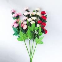 Цветы искусственные Роза 7 бутов мелкая на средней ножке 9-218 (82)