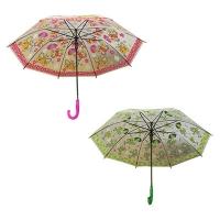 Зонт-трость детский матовая клеенка со свистком MIX  9-254 (10606)