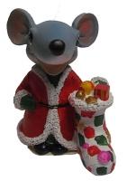 Статуэтка  Мышка с мешком ;  ёлкой 8319