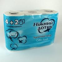 Бумага туалетная Ніжний дотик 4+2шт 2 слоя (855)