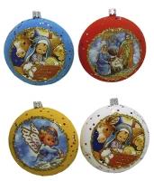 Новогодний пластиковый шар-медаль d11мм Религия бархат